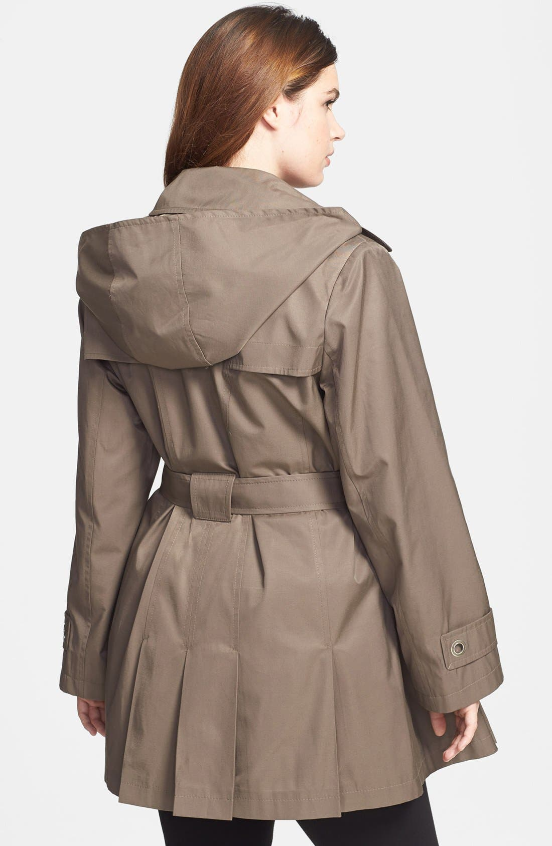 Alternate Image 2  - Via Spiga 'Scarpa' Single Breasted Hooded Trench (Plus Size)