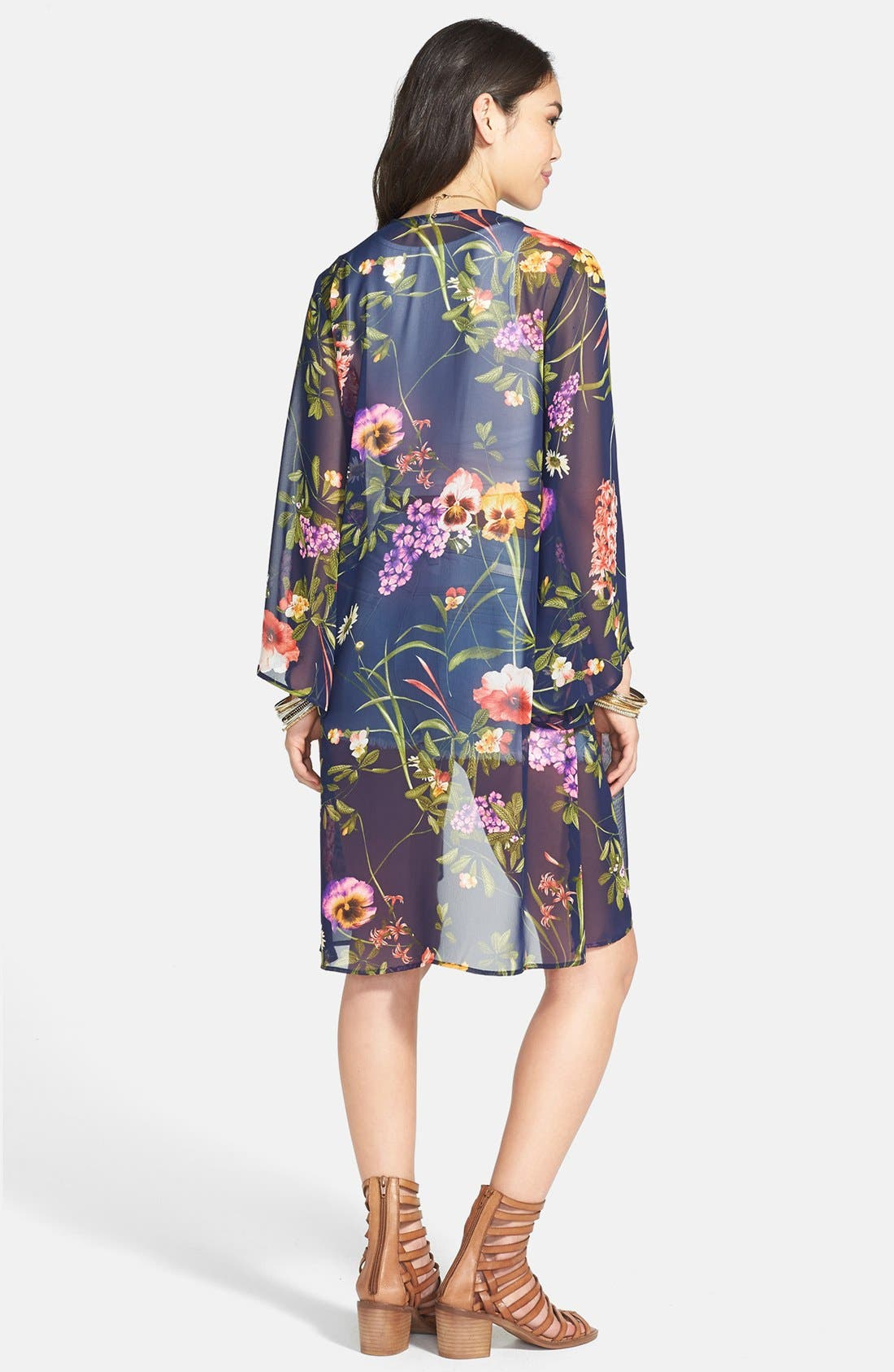 Alternate Image 2  - Lush Print Chiffon Lightweight Jacket (Juniors)