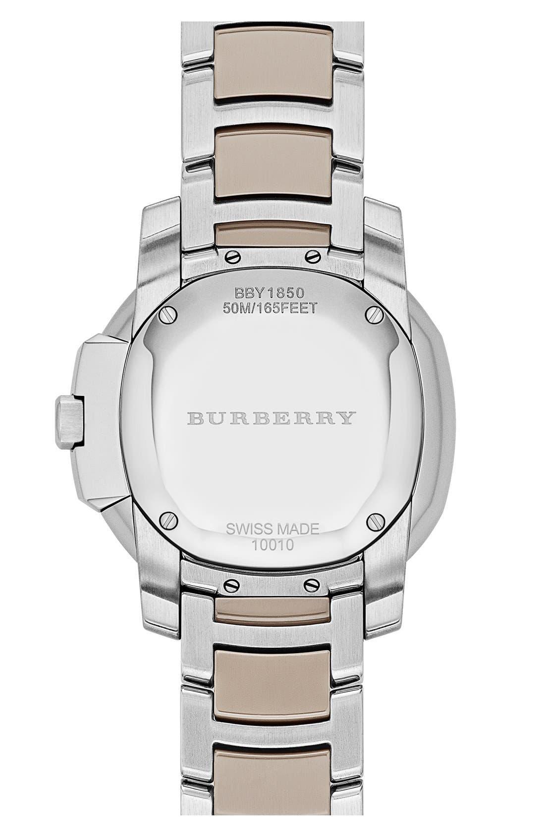 Alternate Image 3  - Burberry The Britain Ceramic Link Bracelet Watch, 34mm