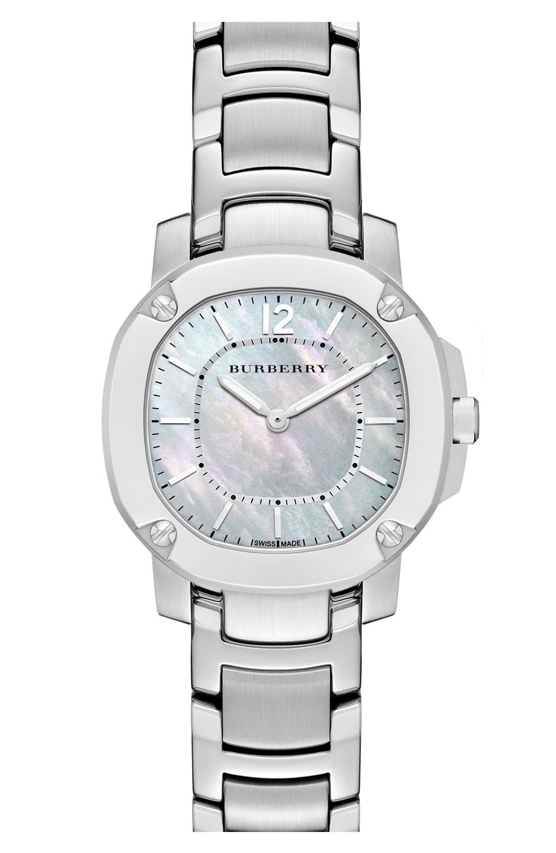 Alternate Image 1 Selected - Burberry The Britain Mother-of-Pearl Bracelet Watch, 26mm