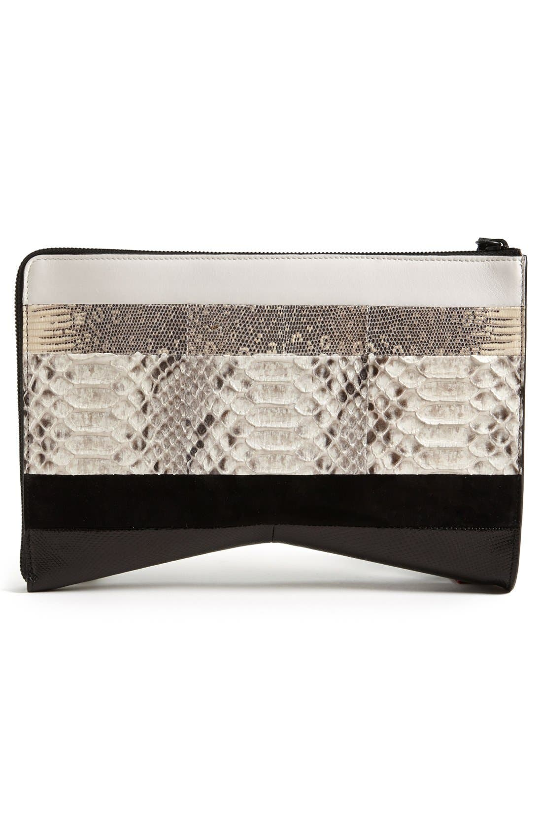 Main Image - Narciso Rodriguez 'Boomerang' Genuine Python, Lizard & Leather Clutch