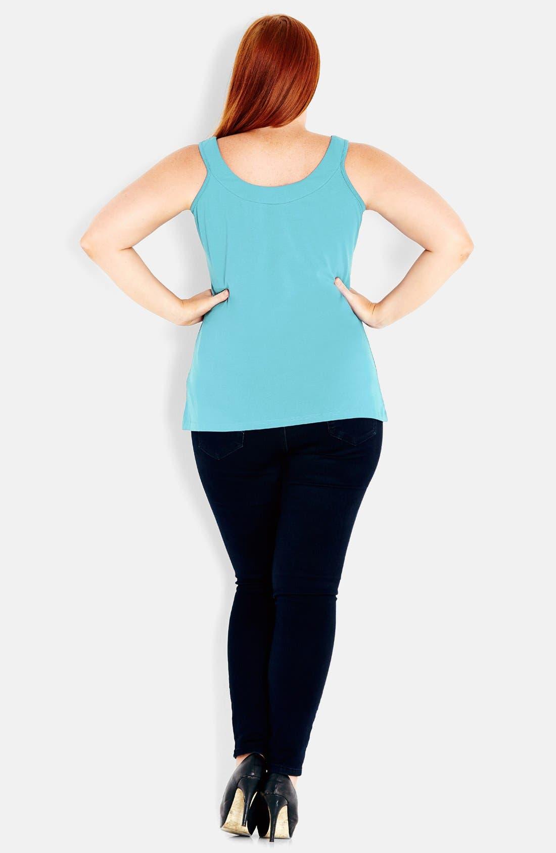 Alternate Image 2  - City Chic Stretch Cotton Camisole (Plus Size)