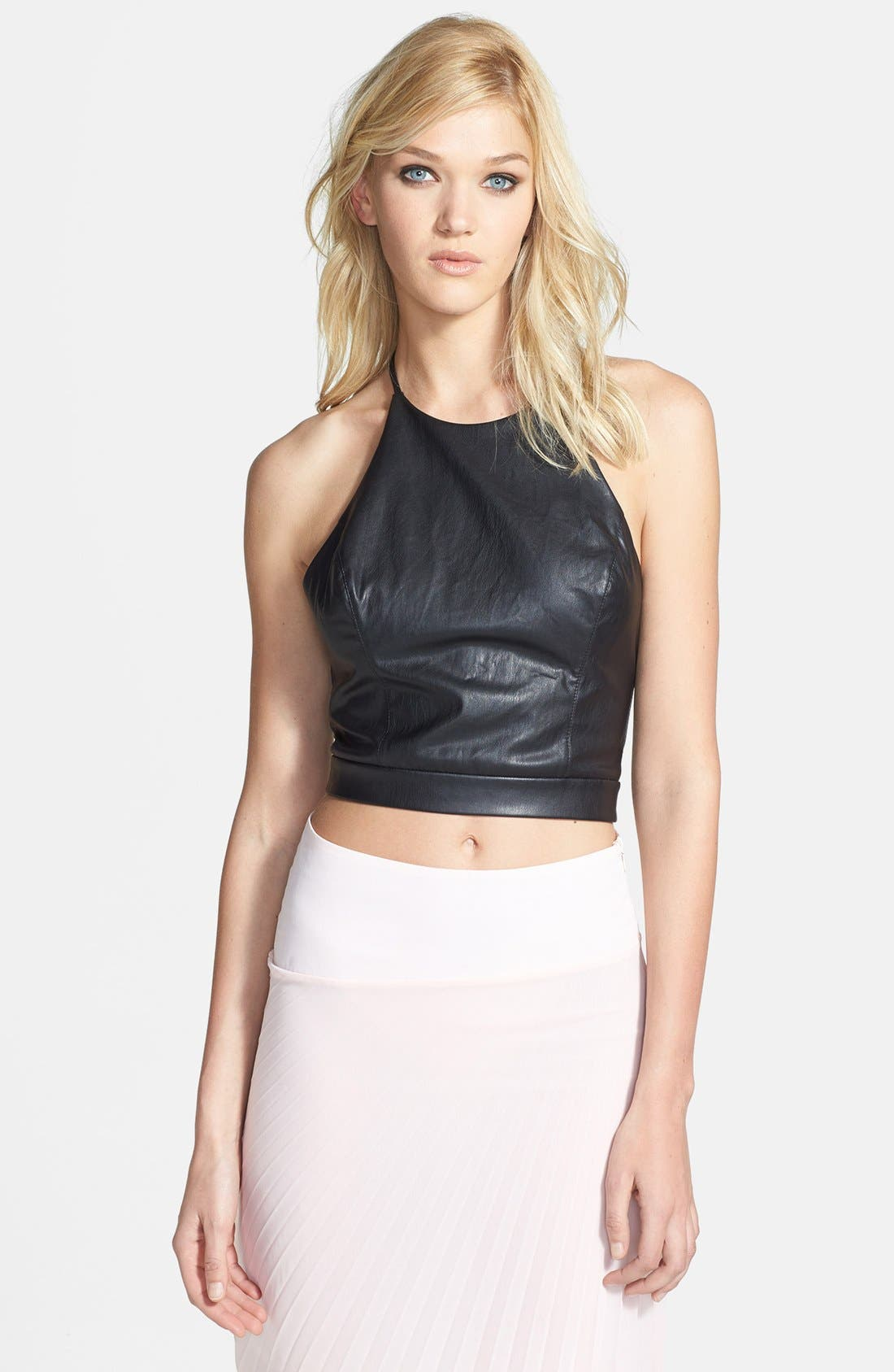 Alternate Image 1 Selected - ASTR Faux Leather Halter Crop Top