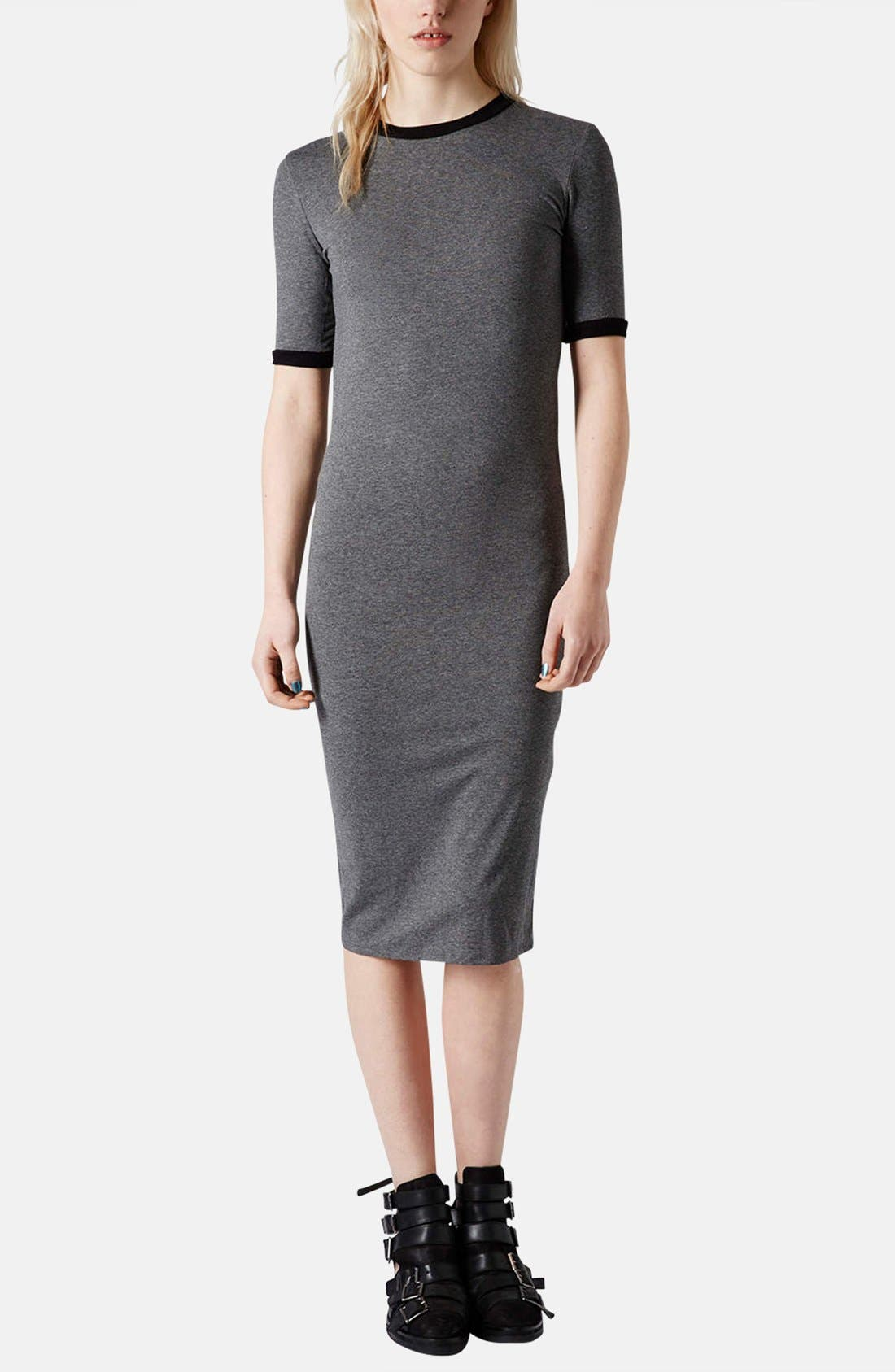 Alternate Image 5  - Topshop Rib Knit Trim Midi Dress