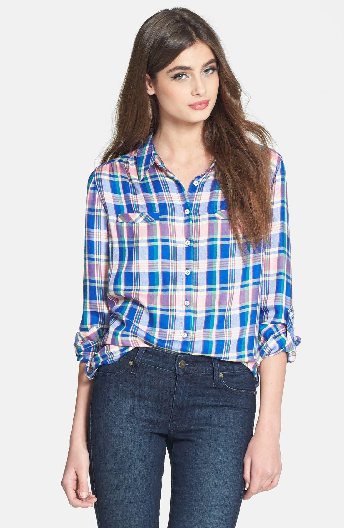 Alternate Image 1 Selected - C & C California Welt Pocket Plaid Tunic Shirt