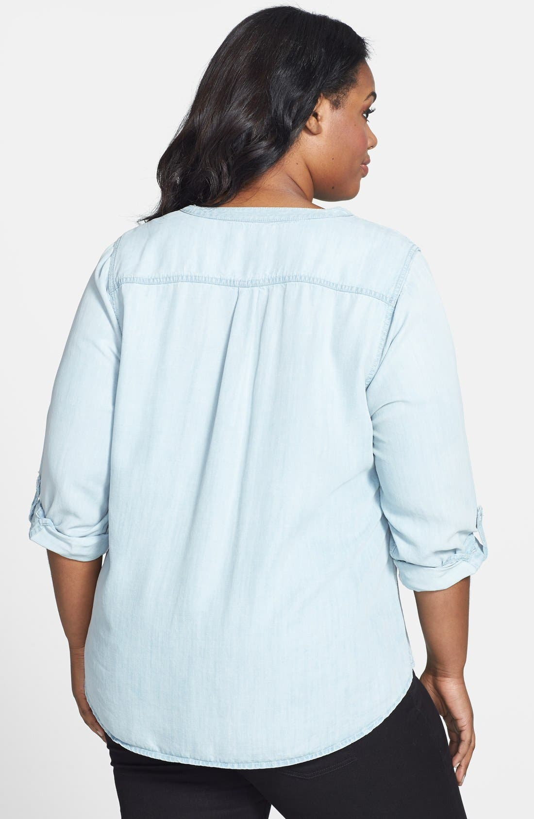 Alternate Image 2  - Lucky Brand Chambray Top (Plus Size)