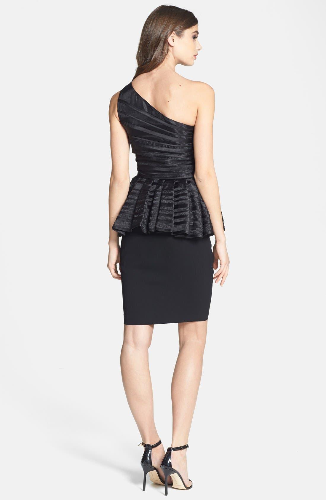 Alternate Image 2  - Halston Heritage One-Shoulder Peplum Mixed Media Dress