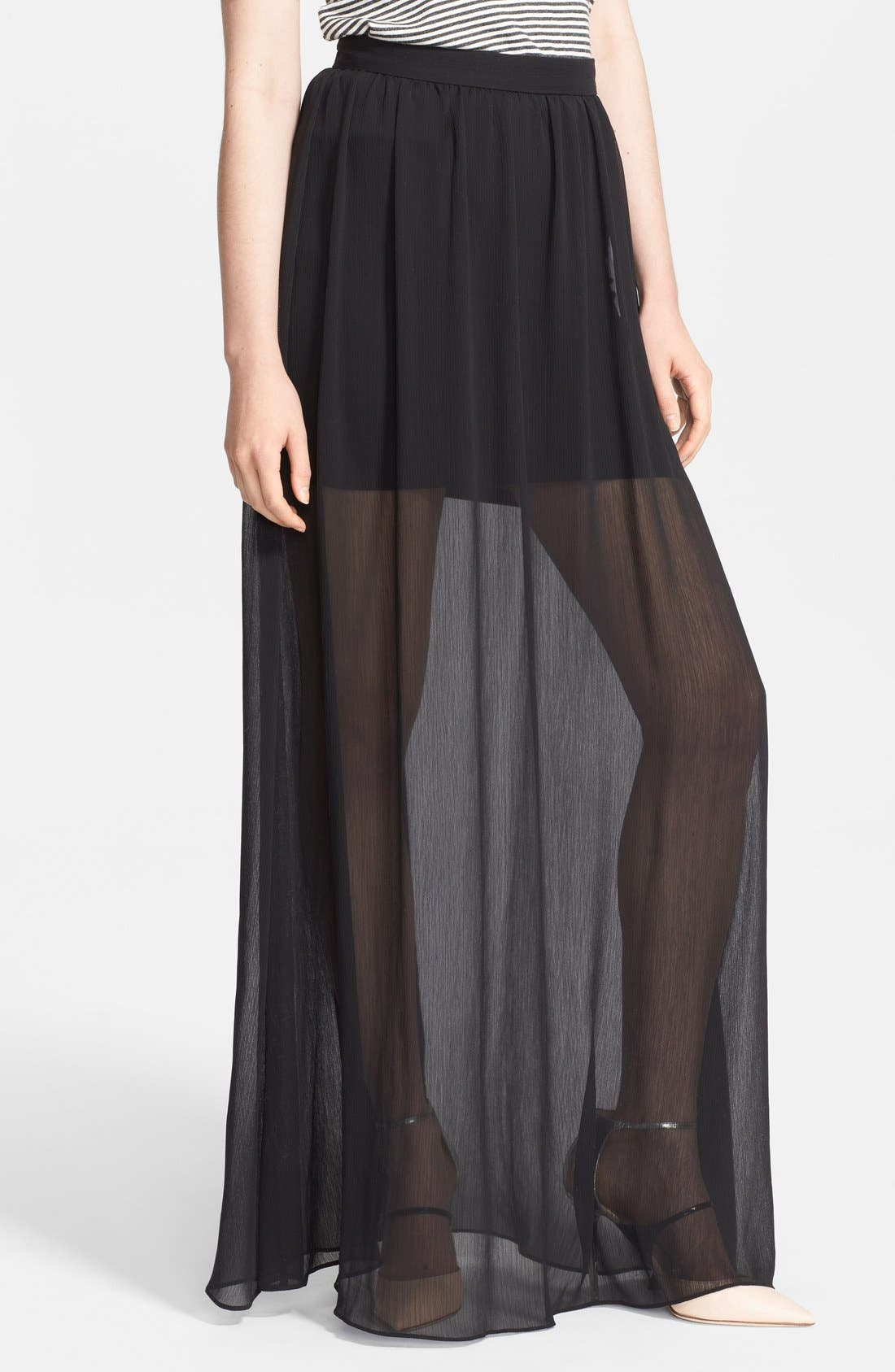 Alternate Image 1 Selected - Alice + Olivia Chiffon Maxi Skirt