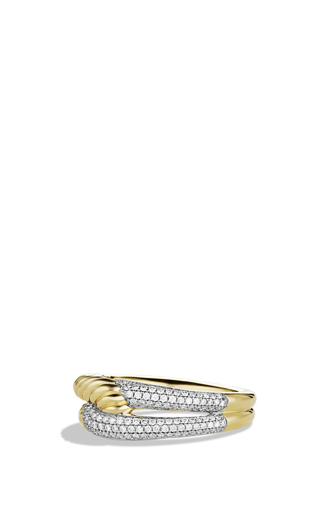 David Yurman 'Labyrinth' Single Loop Ring with Diamonds in Gold