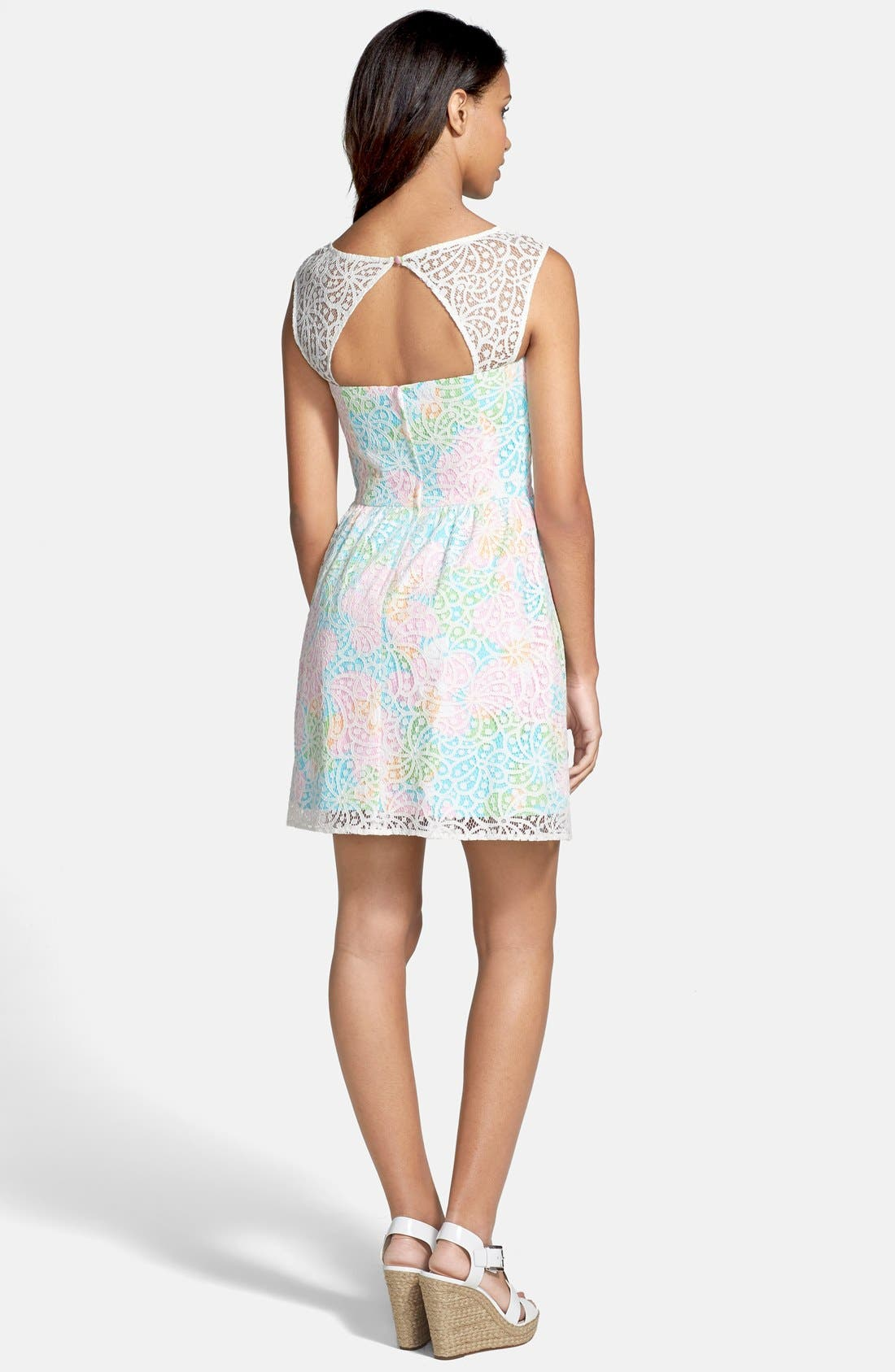 Alternate Image 2  - Lilly Pulitzer® 'Morrison' Lace Overlay Poplin Fit & Flare Dress