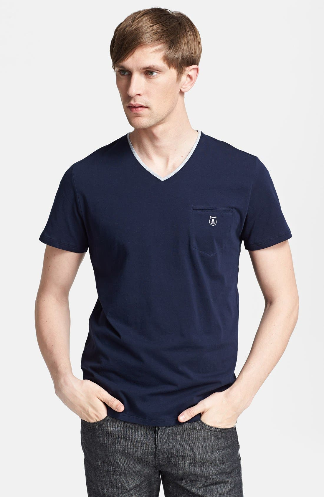 Main Image - The Kooples Logo Embroidered Pocket V-Neck T-Shirt