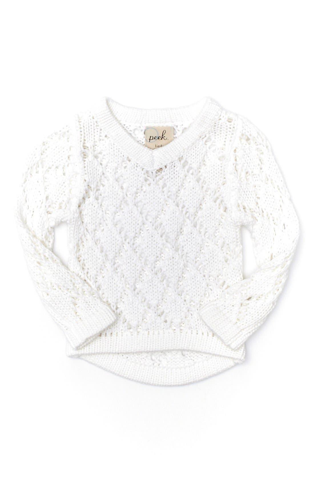 Main Image - Peek 'Emma' V-Neck Sweater (Baby Girls)