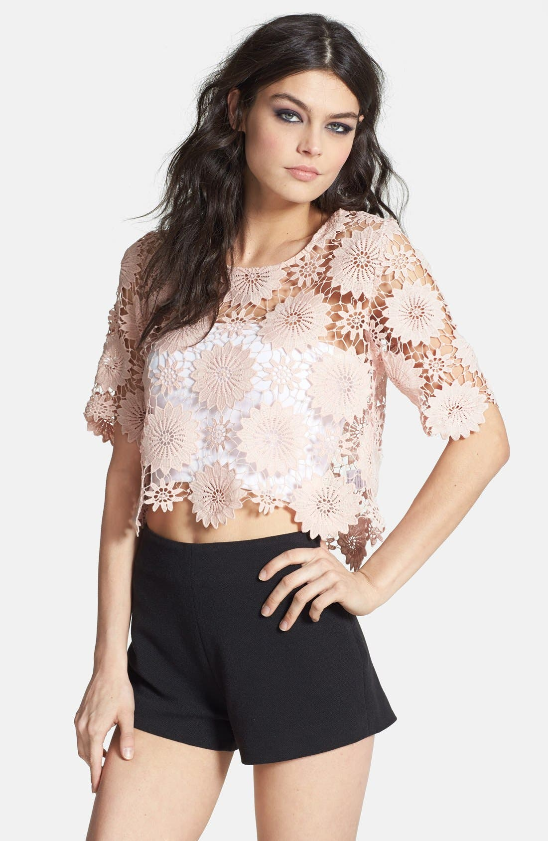 Main Image - ASTR Crocheted Floral Crop Top
