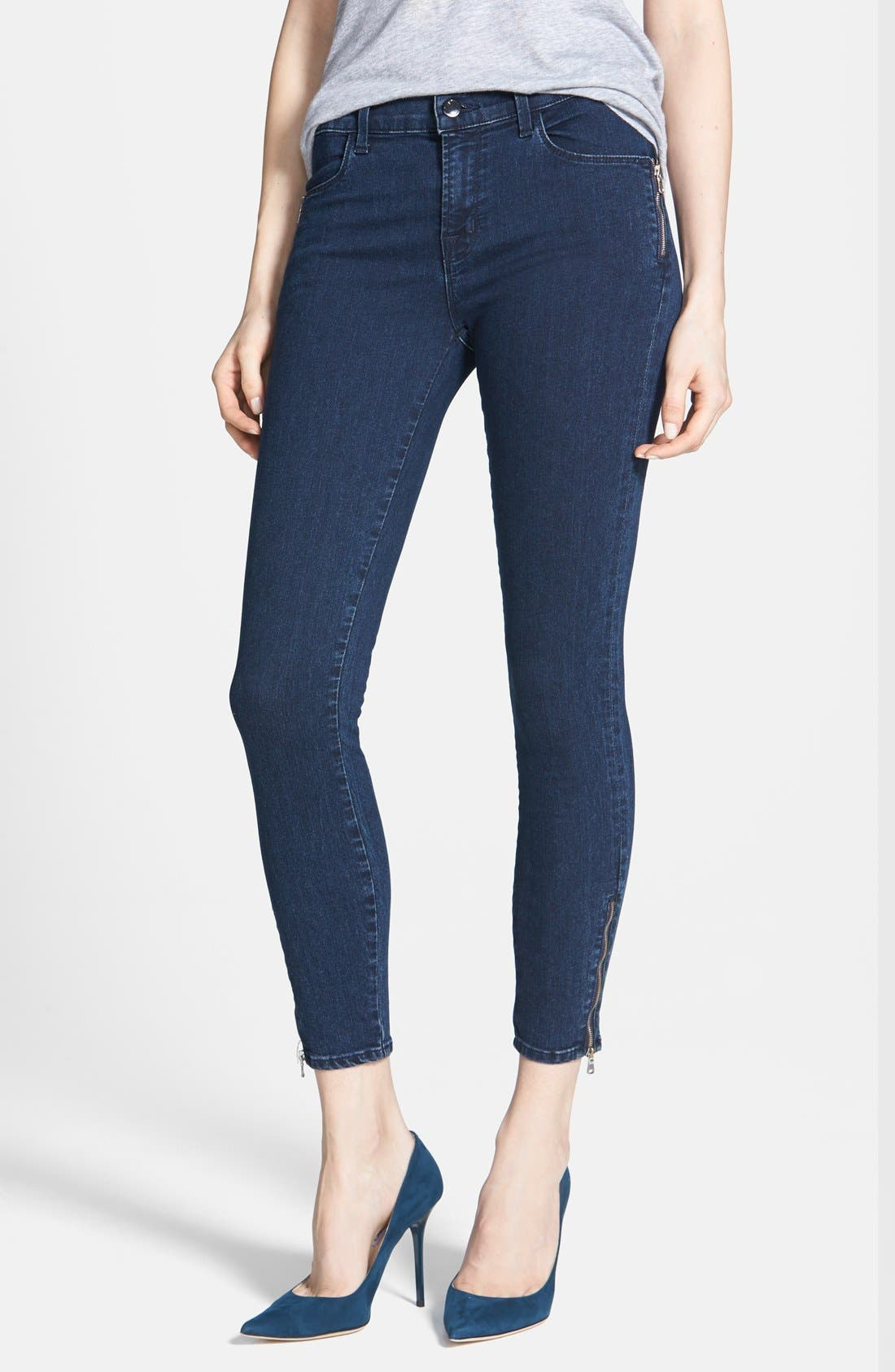 Alternate Image 1 Selected - J Brand 'Tali' Zip Detail Skinny Crop Jeans (Blue Depth)