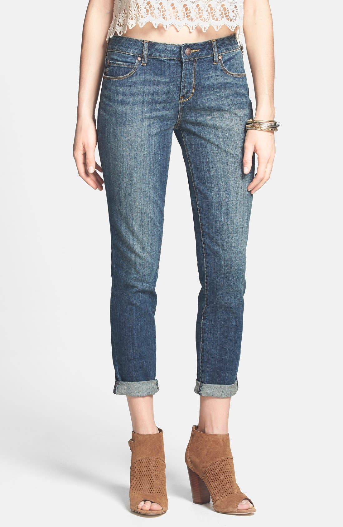 Alternate Image 1 Selected - Articles of Society 'Cindy - Girlfriend' Relaxed Crop Jeans (Medium Wash) (Juniors)