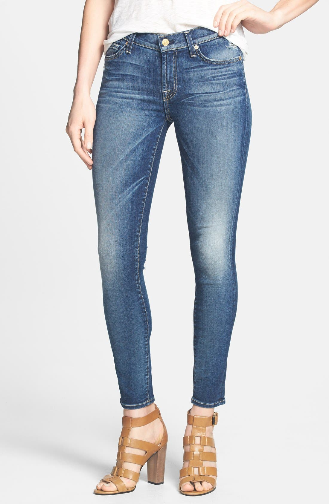 Main Image - 7 For All Mankind® Ankle Skinny Jeans (Super Grinded Blue)