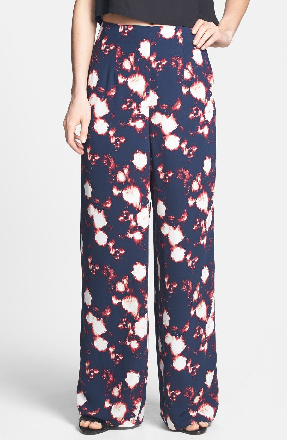 Main Image - Tildon Print High Rise Wide Leg Pants