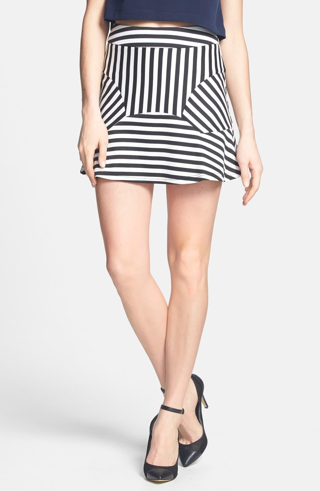 Main Image - Dirty Ballerina 'Sailor Stripe' Paneled Miniskirt