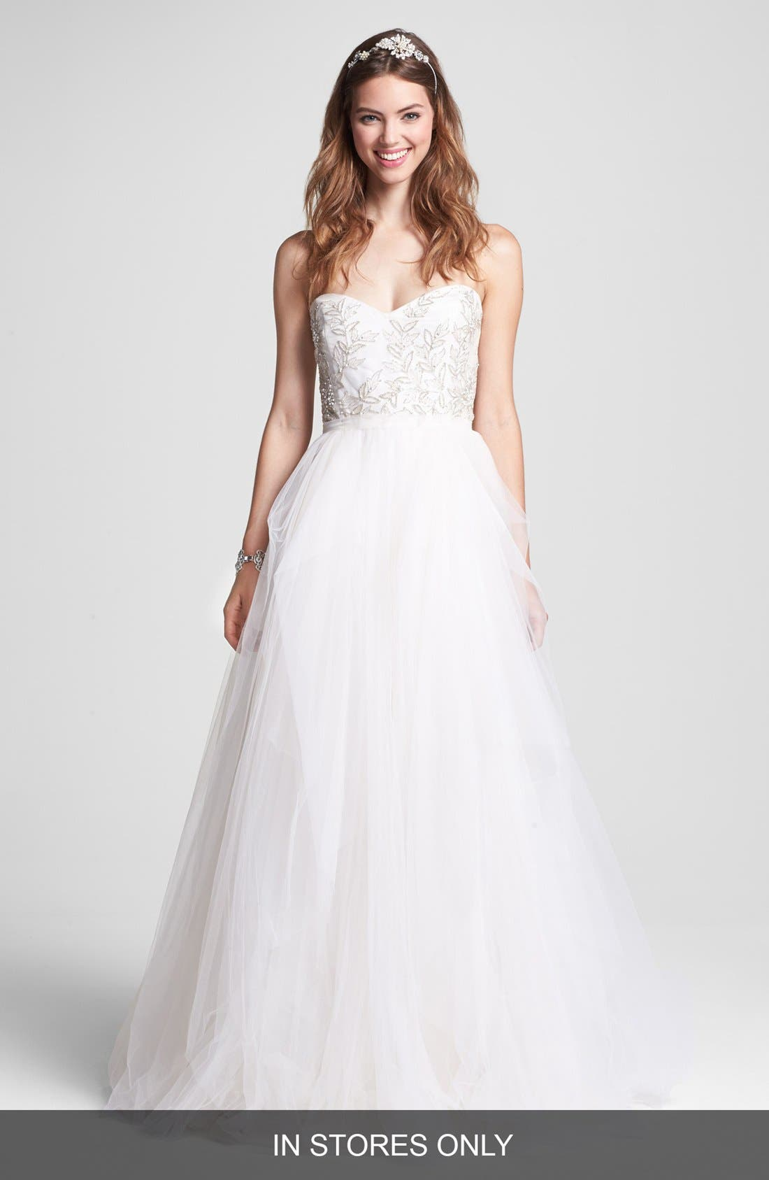 Main Image - Roses by Reem Acra 'Ivy' Embellished Tulle Ballgown (In Stores Only)