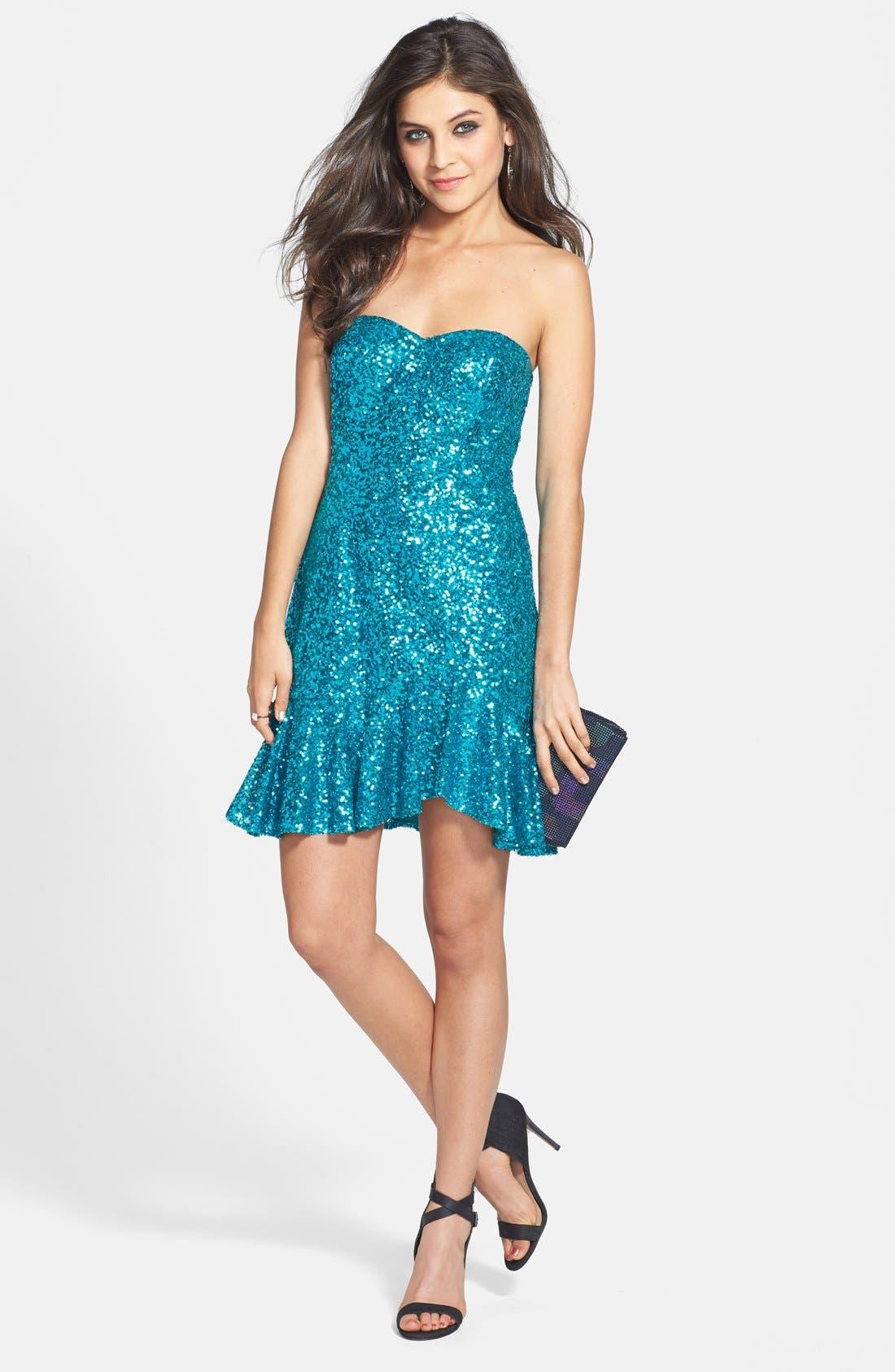 Alternate Image 1 Selected - Aidan by Aidan Mattox Strapless Sequin Flutter Dress