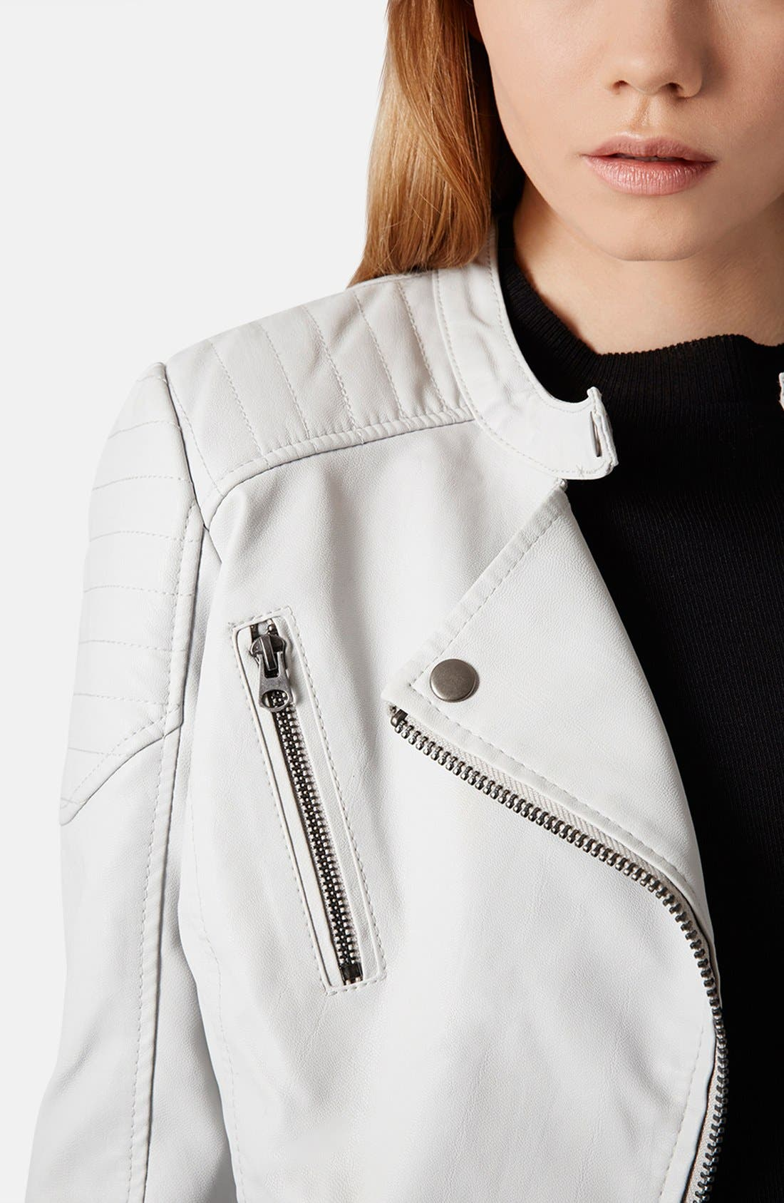 Alternate Image 4  - Topshop Faux Leather Biker Jacket