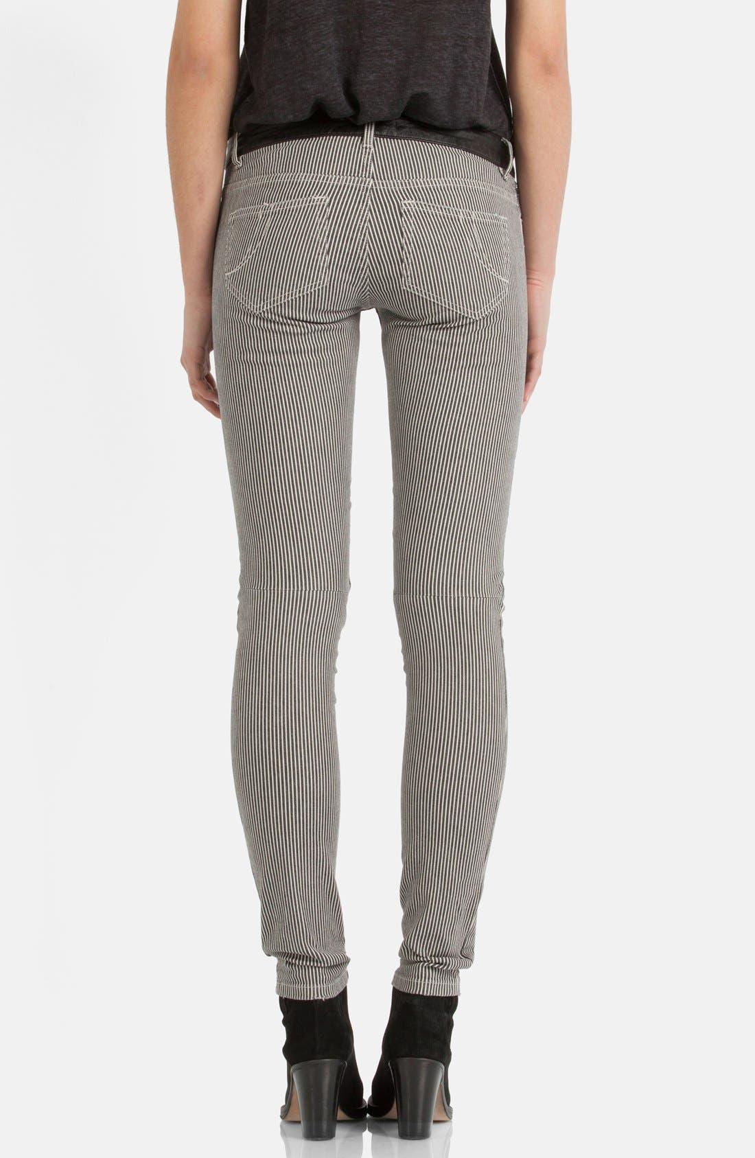Alternate Image 2  - maje 'Aki' Stripe Stretch Skinny Jeans