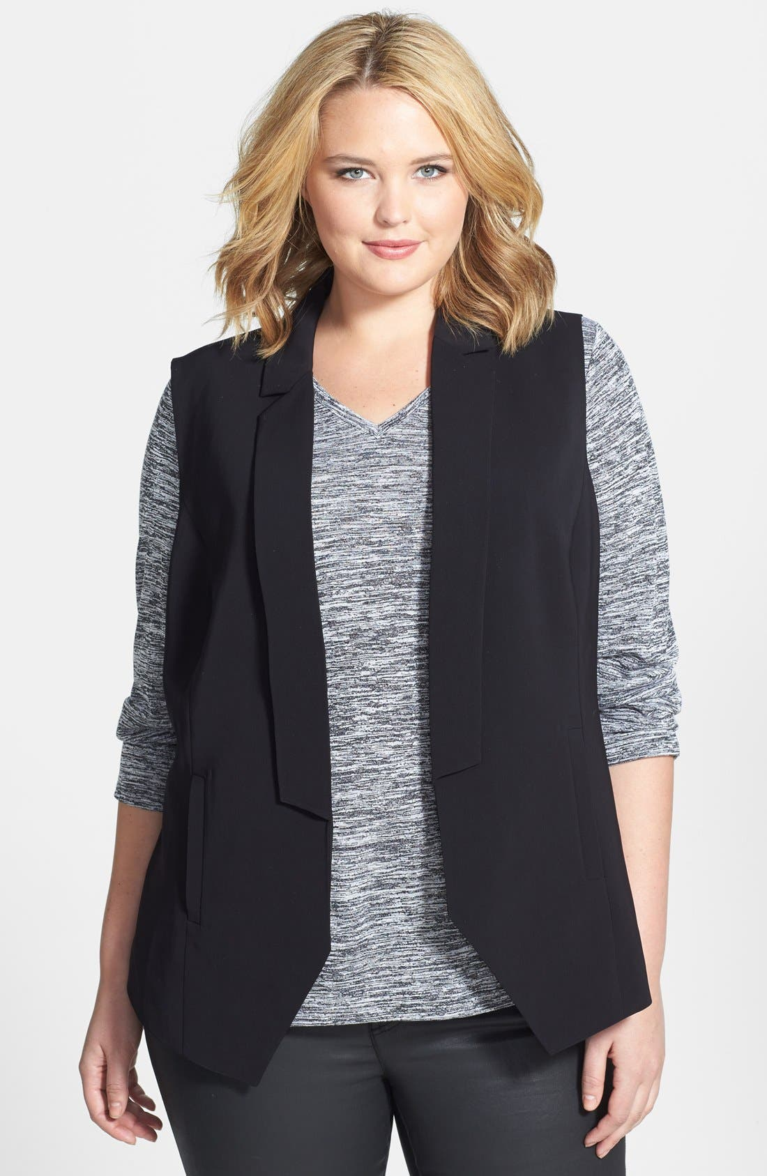 Alternate Image 1 Selected - Halogen® Twill Blazer-Style Vest (Plus Size)