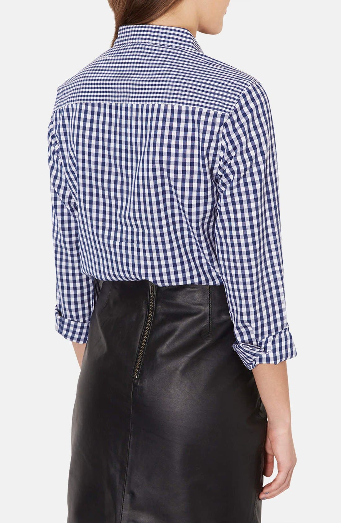 Alternate Image 2  - Topshop Mix Gingham Print Cotton Shirt