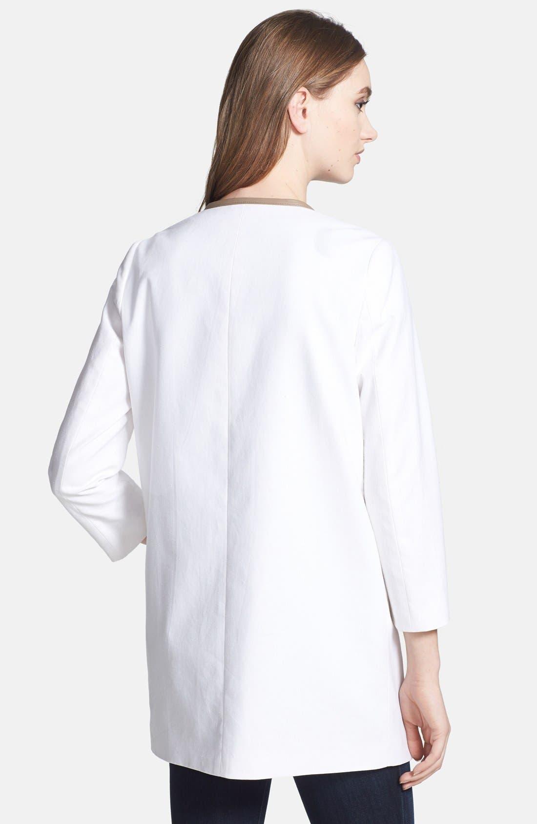 Alternate Image 2  - Soia & Kyo Leather Trim Collarless Linen & Cotton Jacket