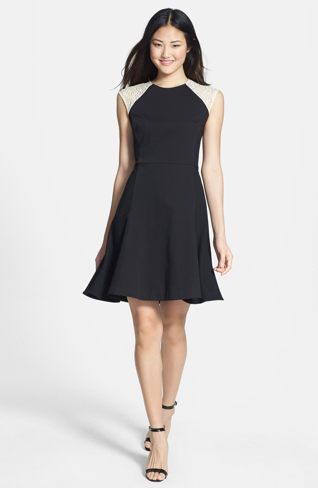 Alternate Image 1 Selected - DKNYC Cap Sleeve Fit & Flare Dress