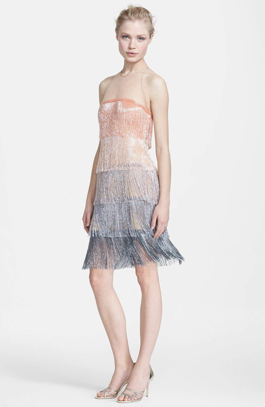 Main Image - Naeem Khan Glass Beaded Tiered Fringe Dress