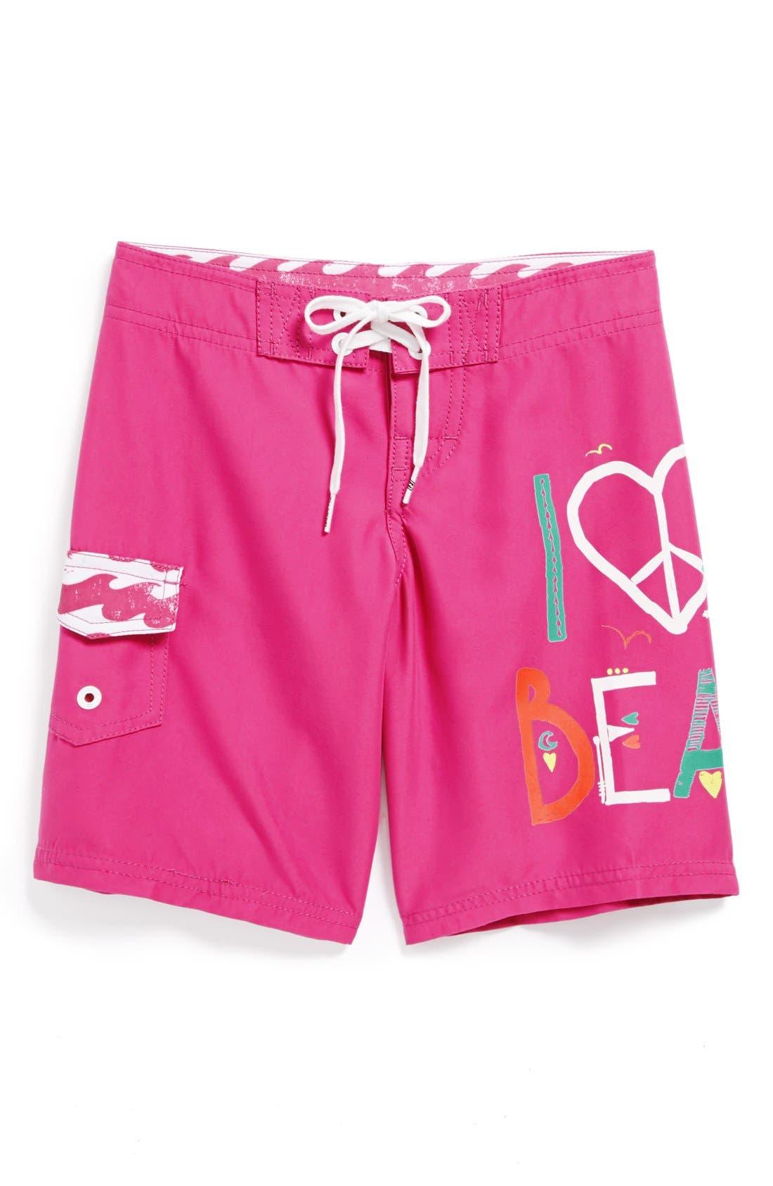 Alternate Image 1 Selected - Billabong 'I Love the Beach' Board Shorts (Big Girls)