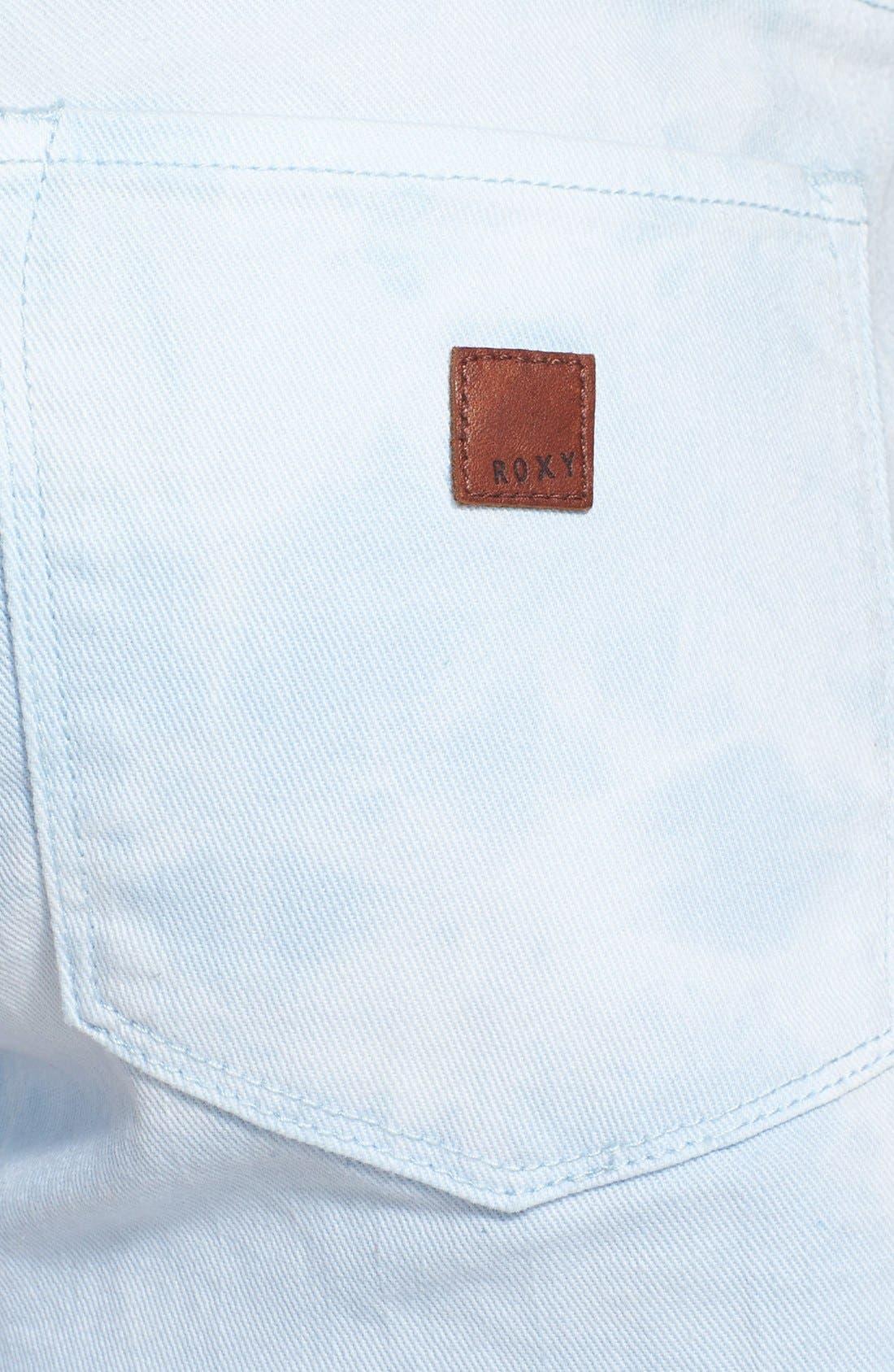 Alternate Image 3  - Roxy 'Lovin' Tie Dye Cutoff Denim Shorts