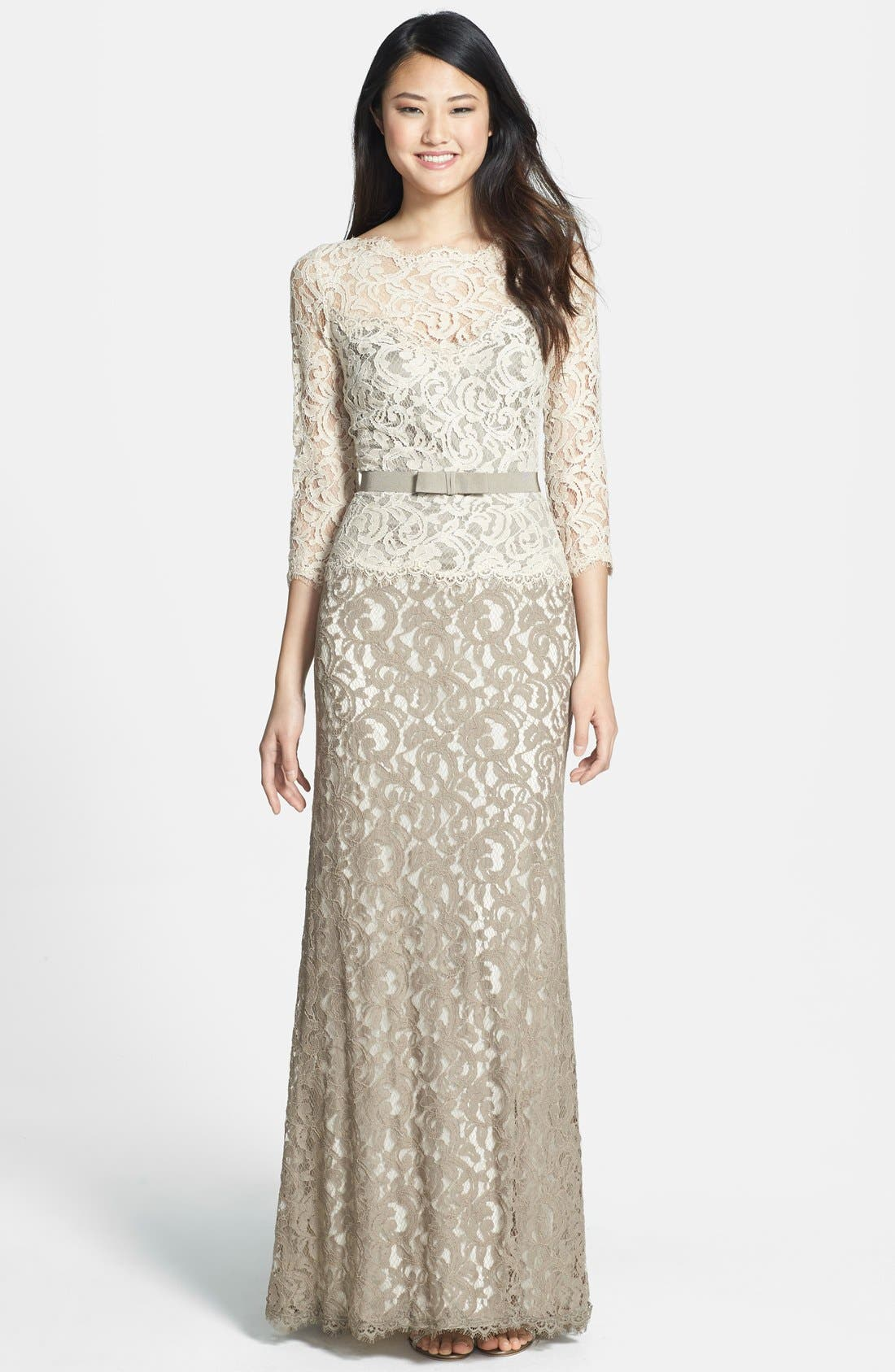 Alternate Image 1 Selected - Tadashi Shoji Mock Two Piece Lace Gown (Regular & Petite)