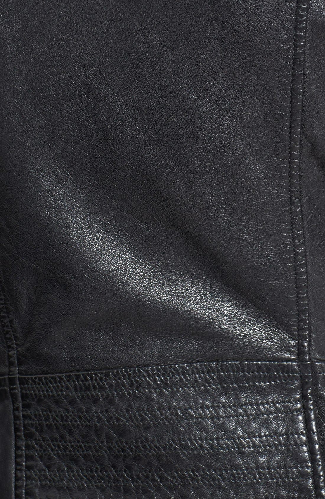 Alternate Image 3  - Bod & Christensen Zip-Off Sleeve Leather Biker Jacket