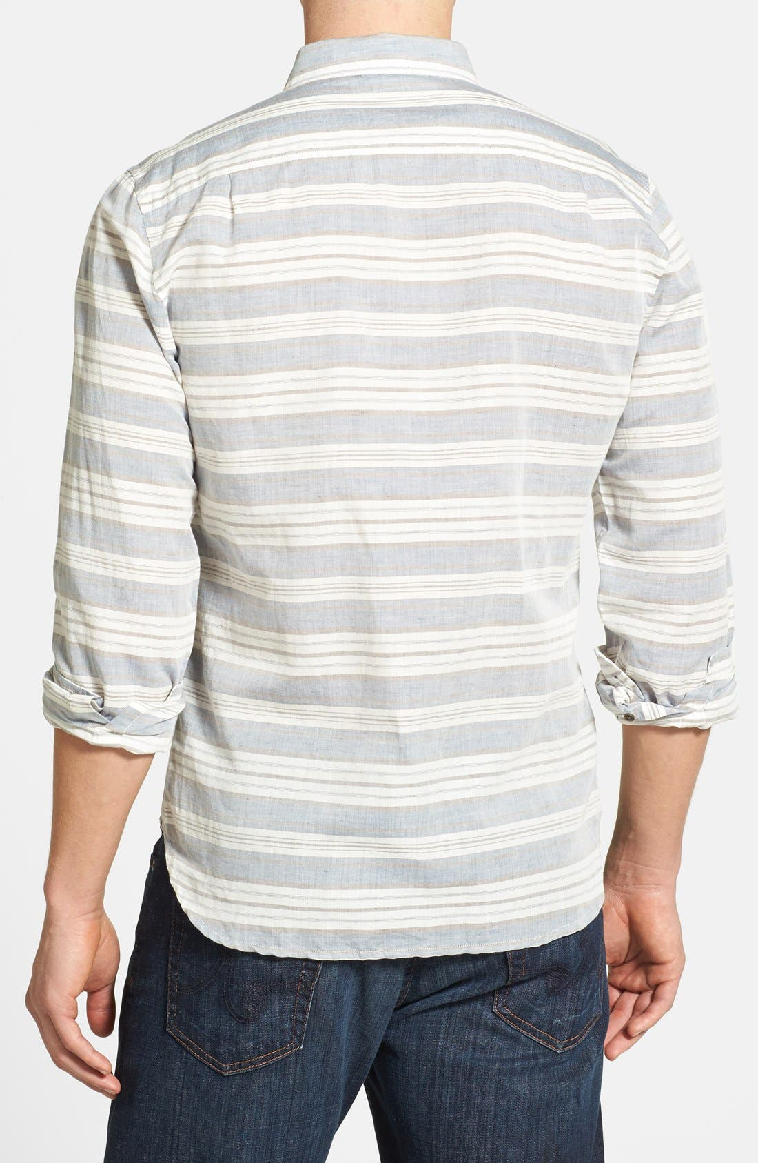 Alternate Image 2  - 7 For All Mankind® Trim Fit Stripe Sport Shirt