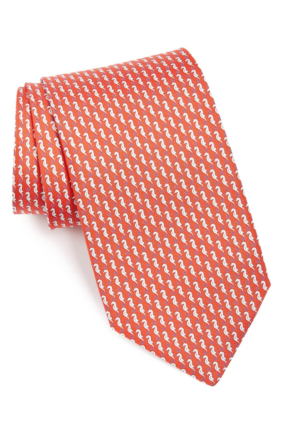 Alternate Image 1 Selected - Salvatore Ferragamo Seahorse Print Tie