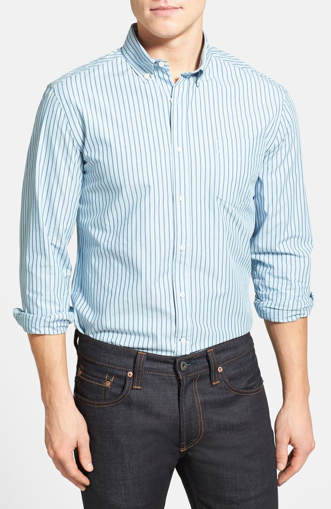 Alternate Image 1 Selected - Haspel Slim Fit Oxford Stripe Button Down Sport Shirt