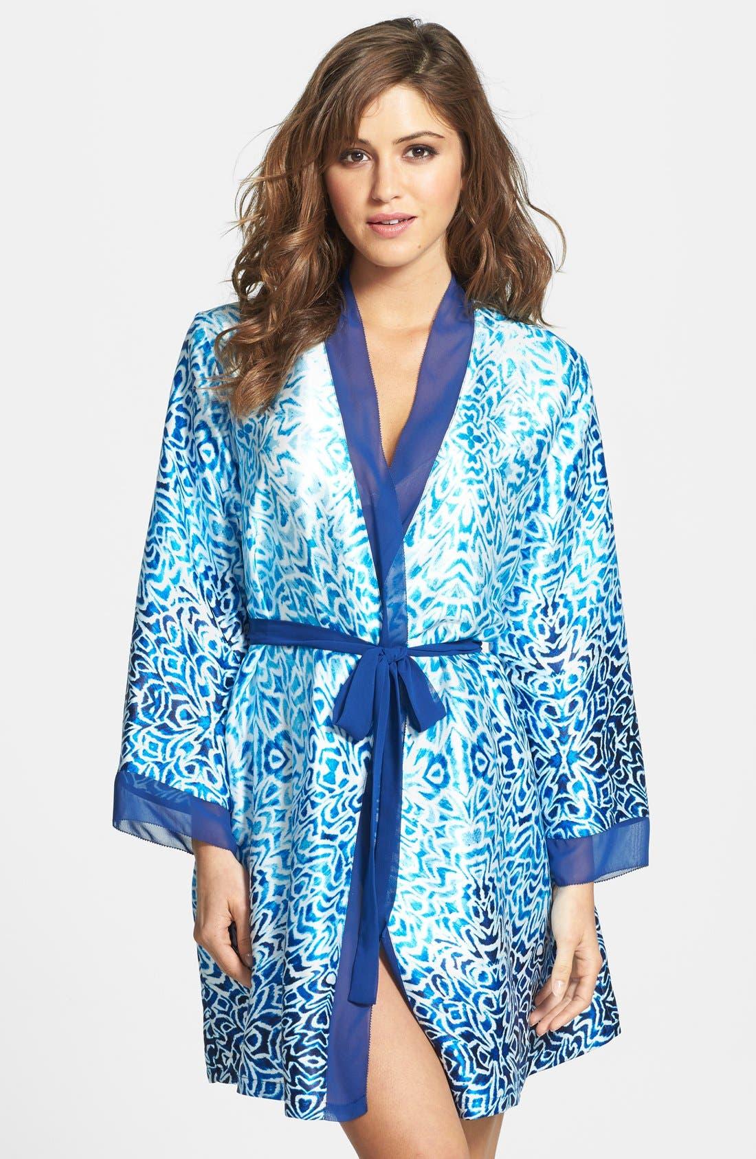 Main Image - Oscar de la Renta Sleepwear 'Ocean Breeze' Satin Charmeuse Wrap Robe
