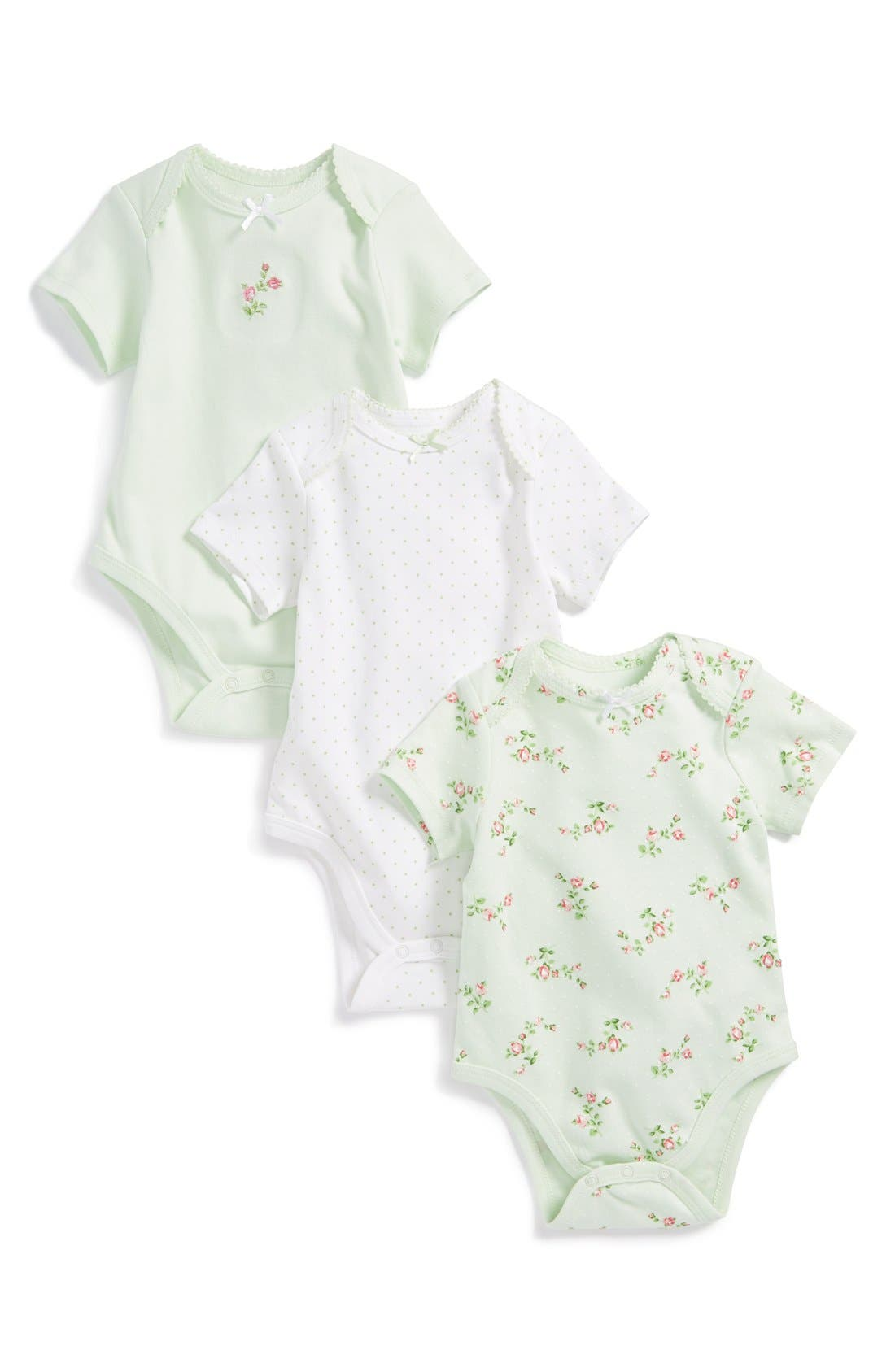 Main Image - Little Me 'Rose Spray' Bodysuits (Set of 3) (Baby Girls)