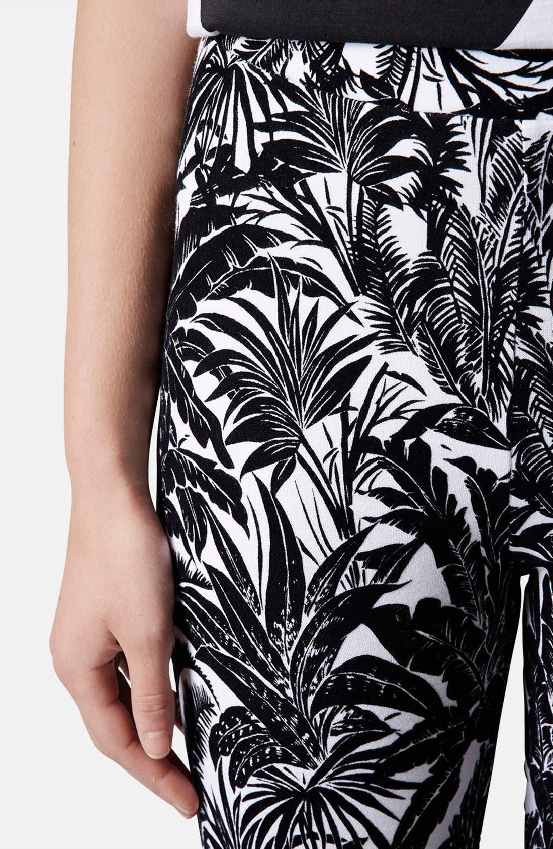 Alternate Image 4  - Topshop Tropical Palm Flocked Leggings