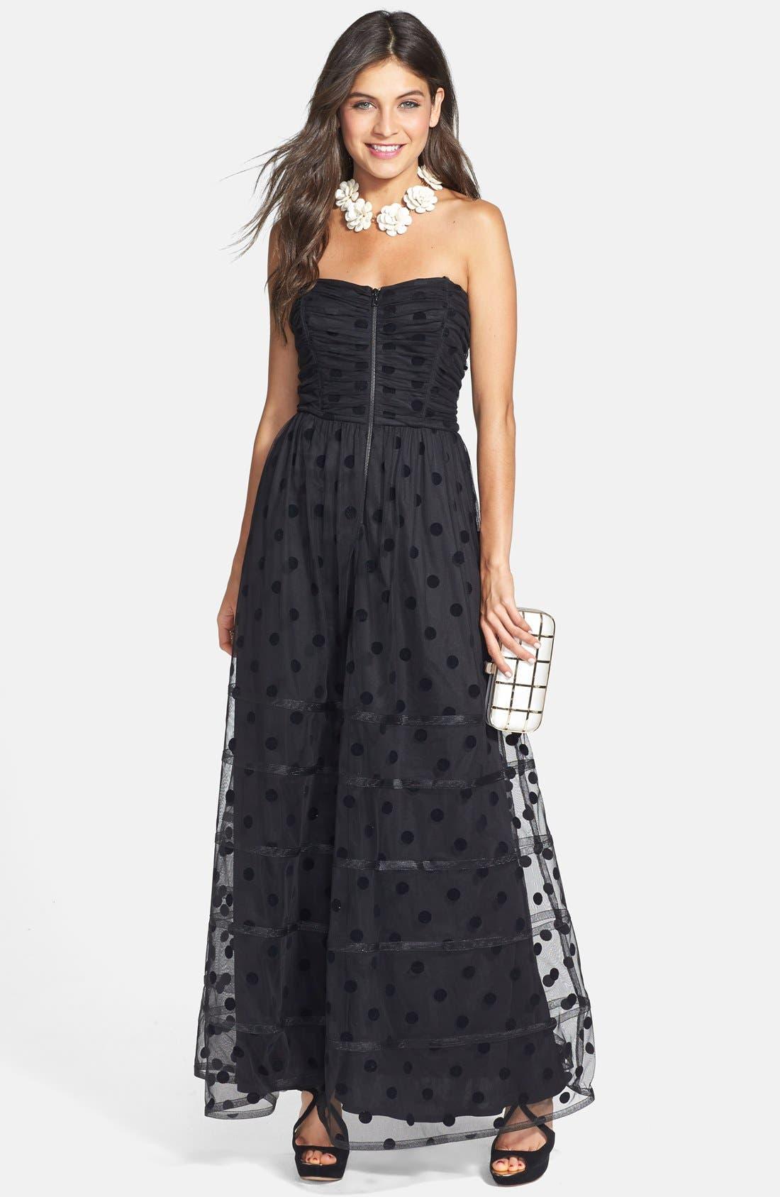 Main Image - Betsey Johnson Polka Dot Mesh Gown
