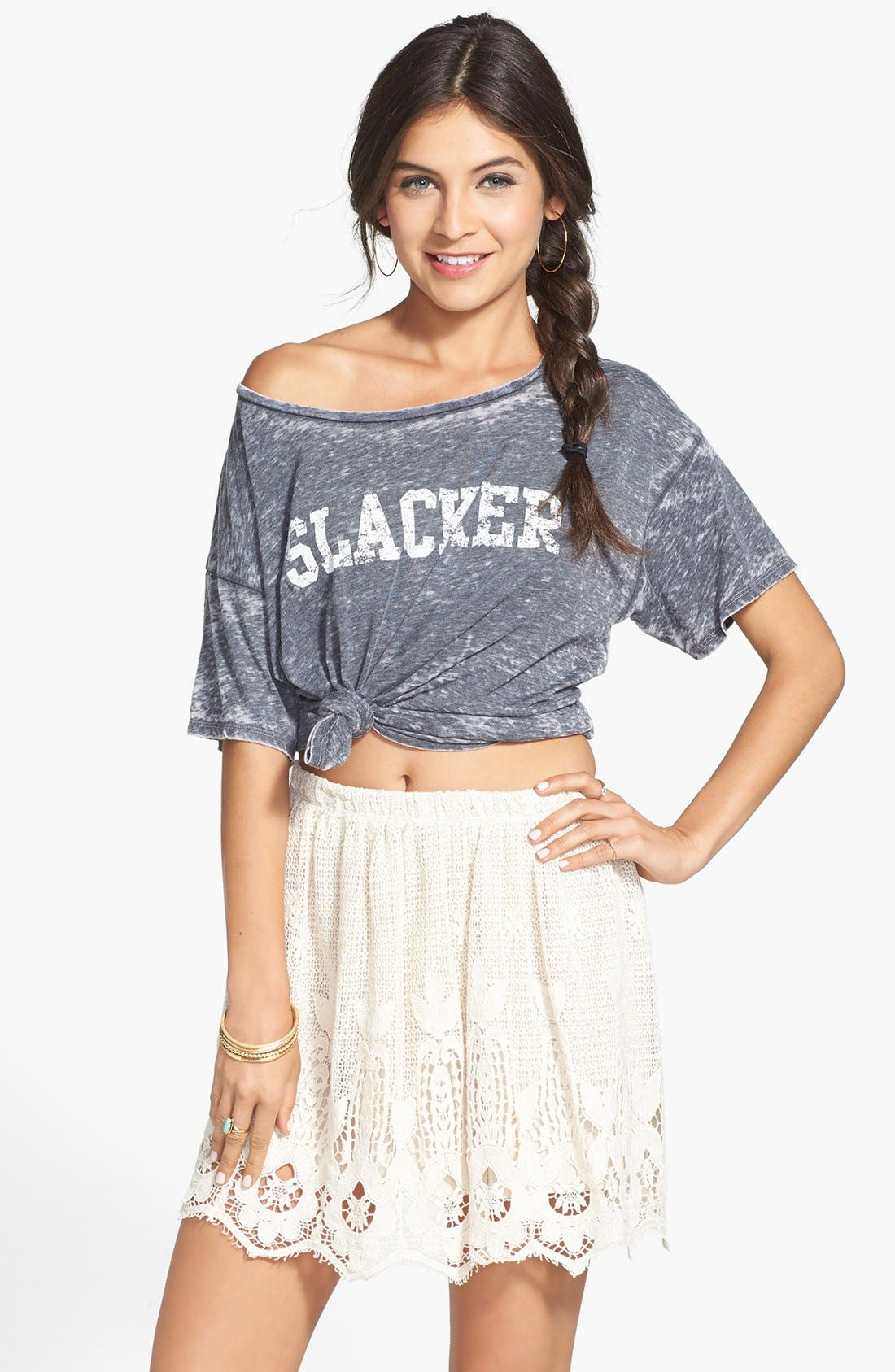 Alternate Image 1 Selected - Painted Threads Cotton Crochet Skirt (Juniors)