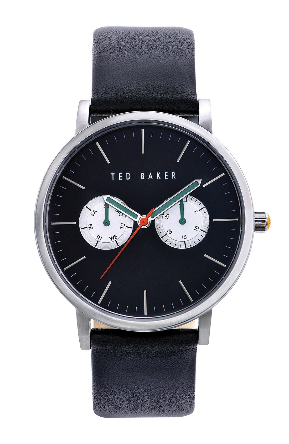 Main Image - Ted Baker London Multifunction Leather Strap Watch, 40mm