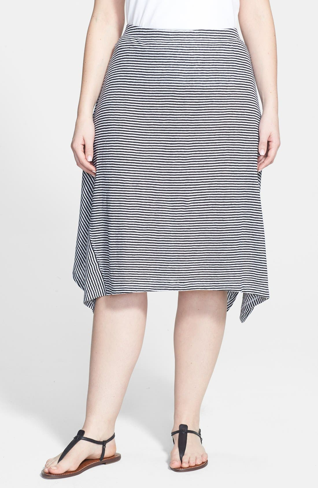 Main Image - Eileen Fisher Stripe Organic Linen Knit Skirt (Plus Size)