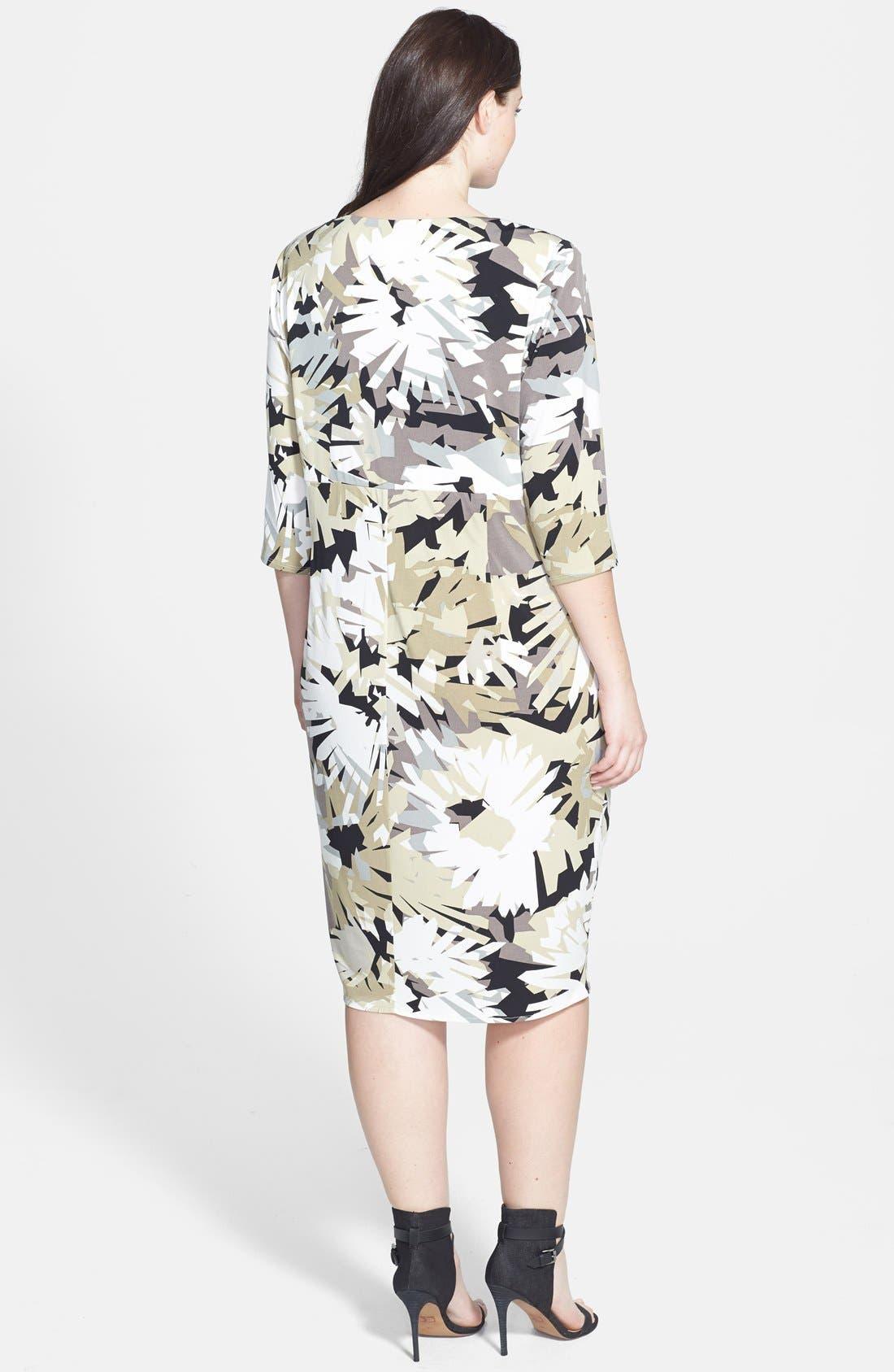 Alternate Image 2  - London Times Print Ruched Sheath Dress (Plus Size)