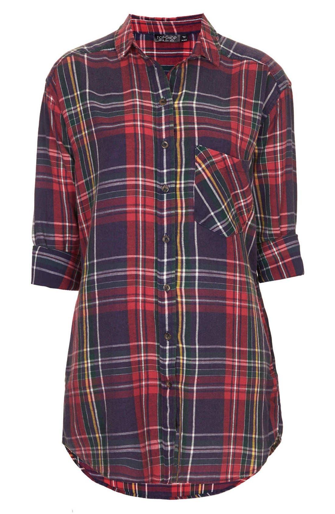 Alternate Image 3  - Topshop Oversized Plaid Cotton Shirt