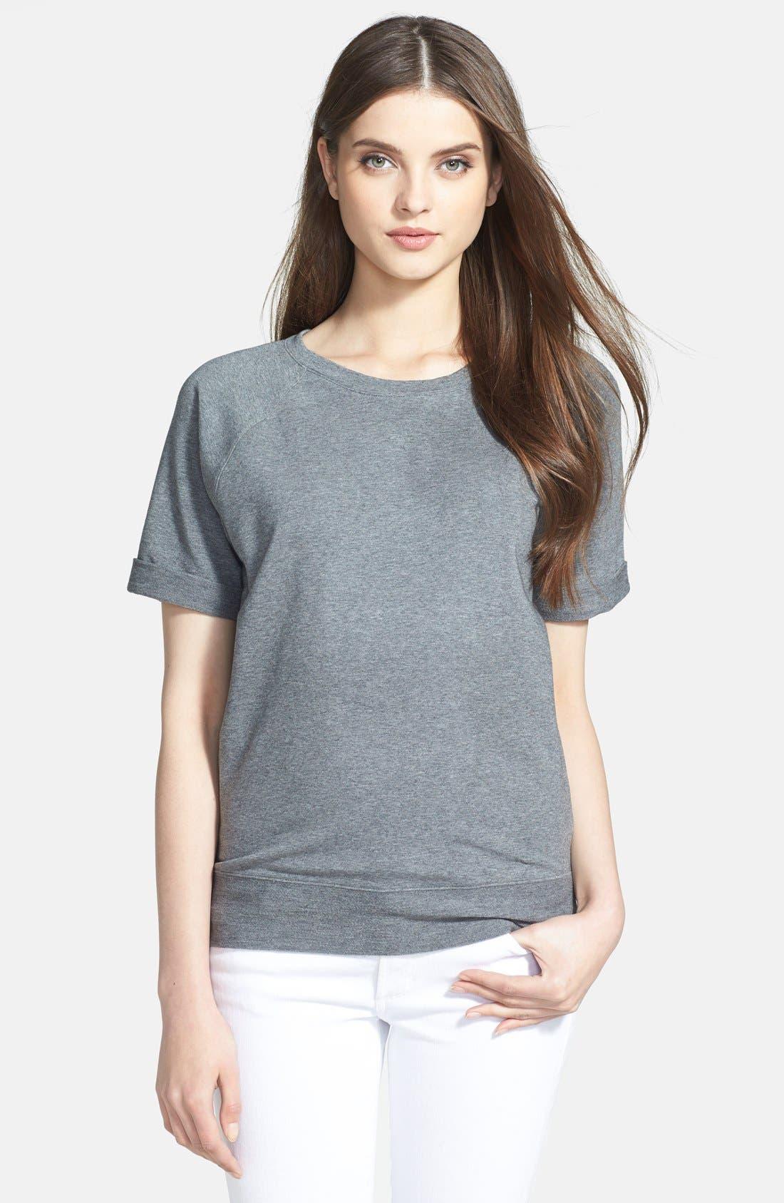 Alternate Image 1 Selected - Halogen® Short Sleeve Sweatshirt (Regular & Petite)