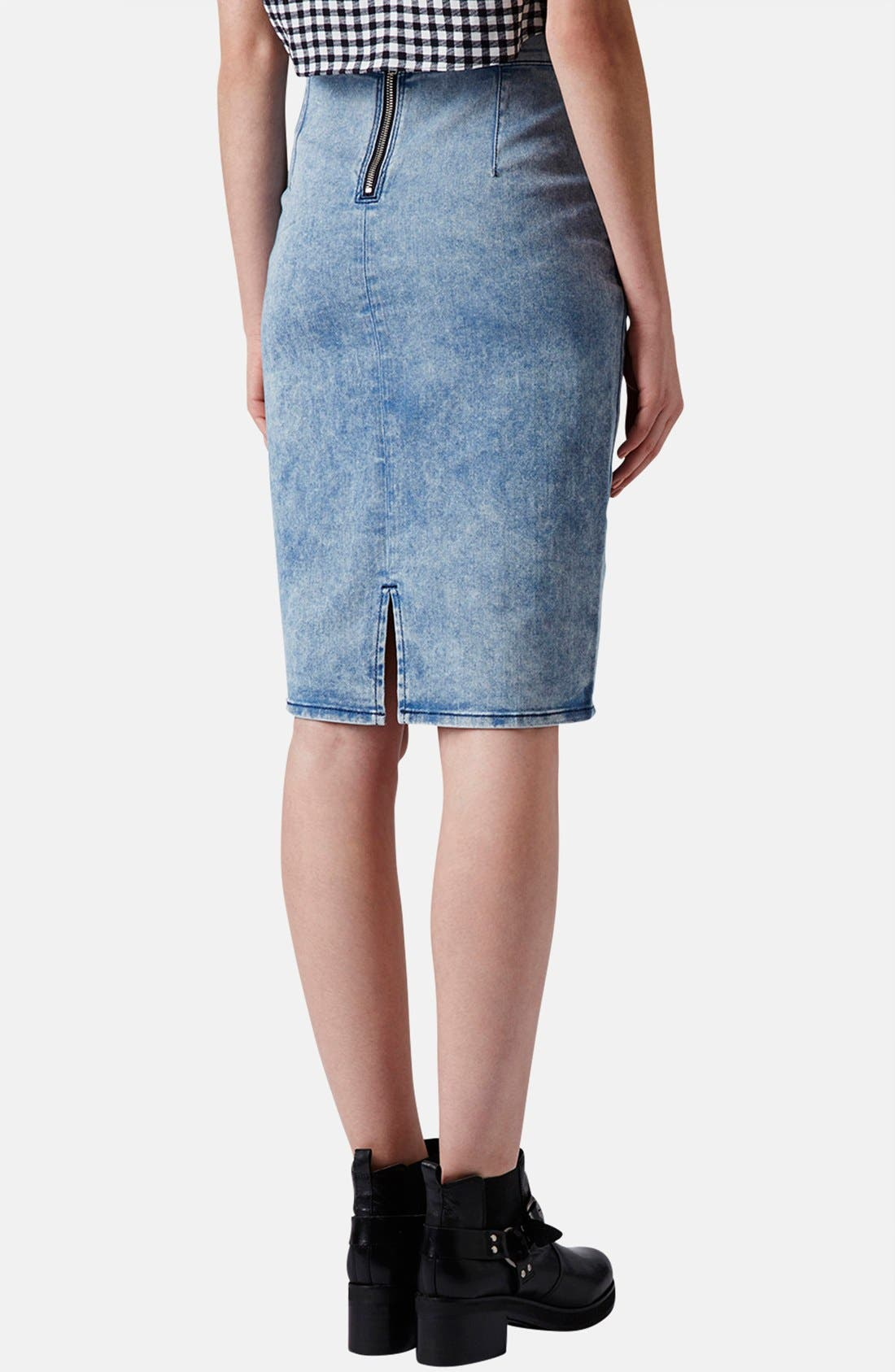 Alternate Image 2  - Topshop Moto Acid Wash Denim Pencil Skirt