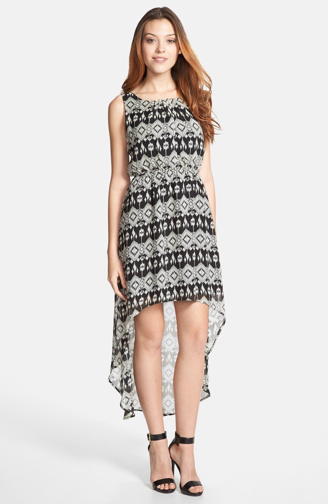 Main Image - Olive & Oak Ikat Print High/Low Dress